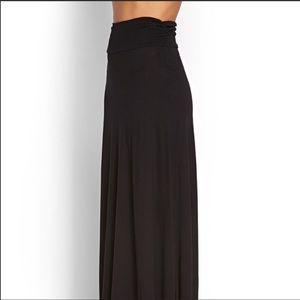 Bobeau Black Ruched Waistband Maxi Skirt S